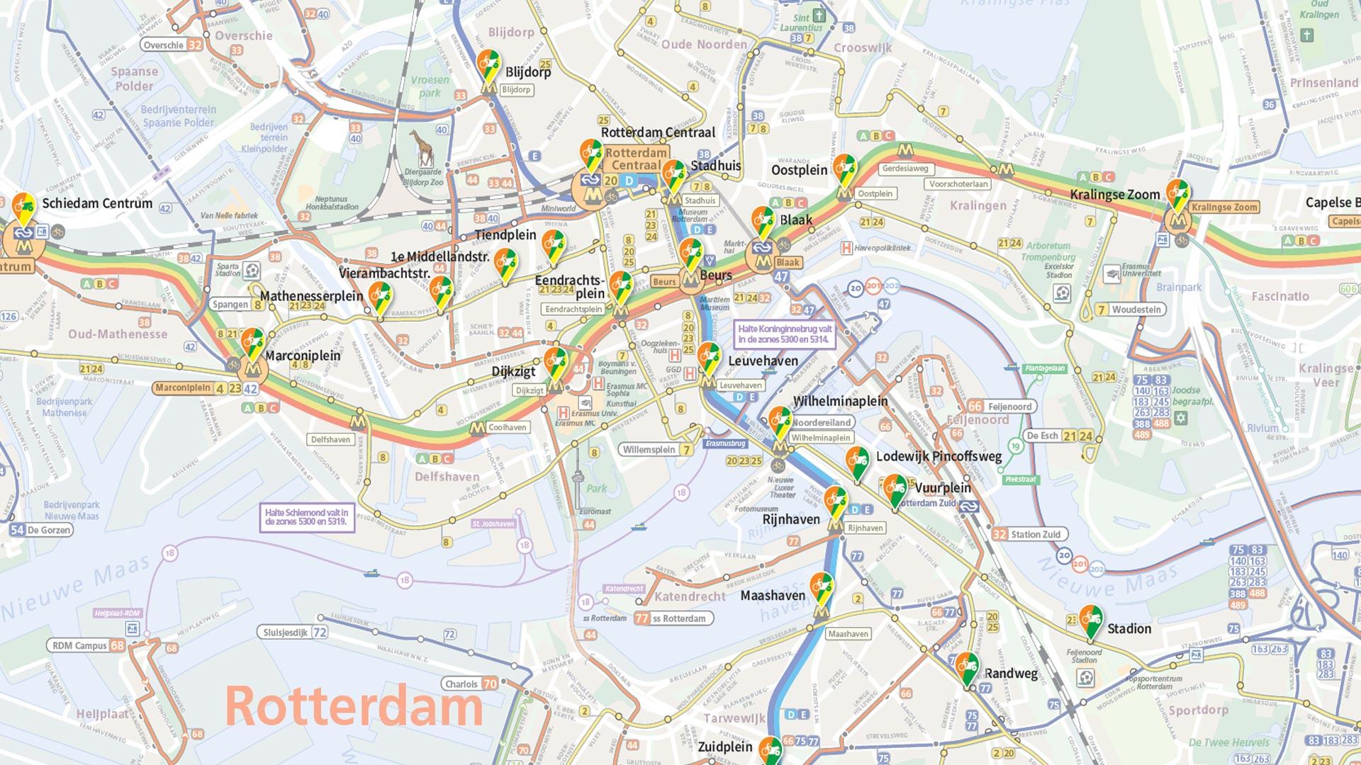 Bekijk de locaties van de deelfietsen en scooters op de kaart.